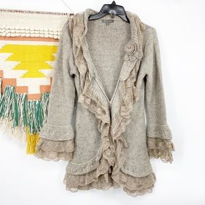 Roz & Ali Ruffle Lace Trim Cardigan Brown Sz S
